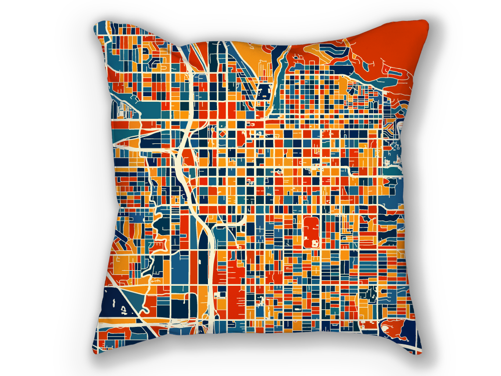 Salt Lake City Map Pillow - SLC Map Pillow 18x18