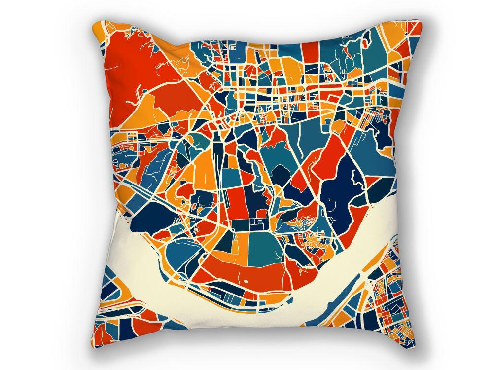 Seoul Map Pillow - South Korea Map Pillow 18x18