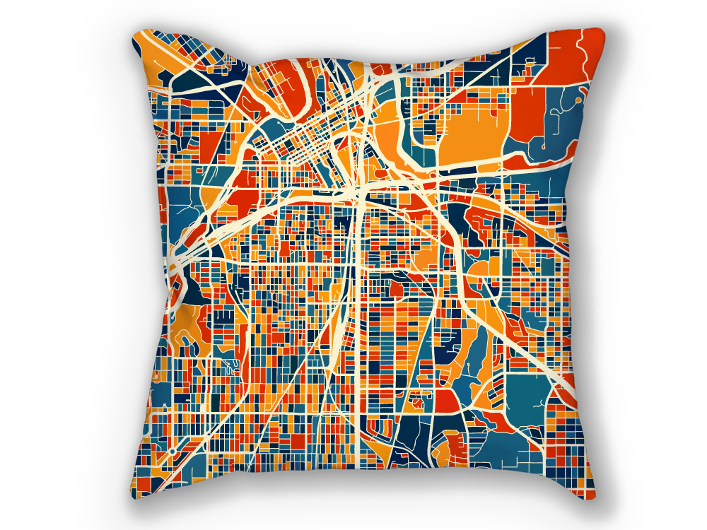 Fort Worth Map Pillow - Texas Map Pillow 18x18