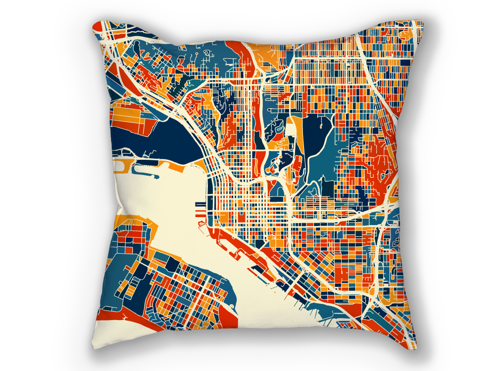 San Diego Map Pillow - California Map Pillow 18x18