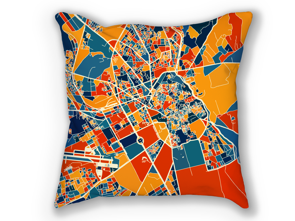 Marrakesh Map Pillow - Morocco Map Pillow 18x18