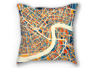 New Orleans Map Pillow - No Map Pillow 18x18