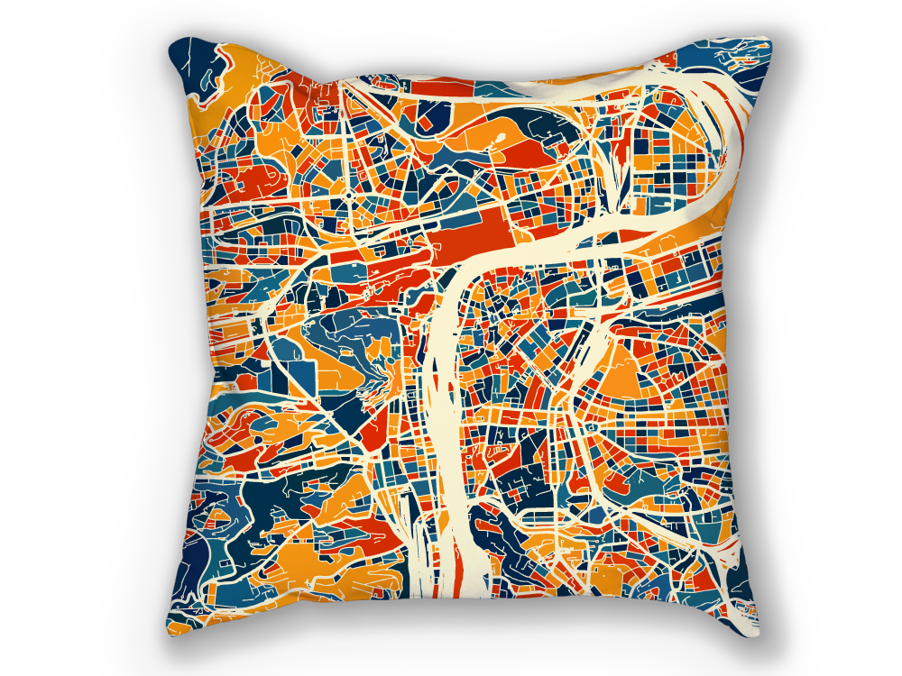 Prague Map Pillow - Czech Map Pillow 18x18