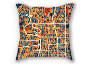 Wichita Map Pillow - Kansas Map Pillow 18x18