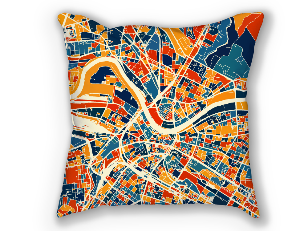 Dresden Map Pillow - Germany Map Pillow 18x18
