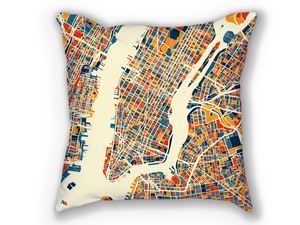 New York City Map Pillow - New York Map Pillow 18x18
