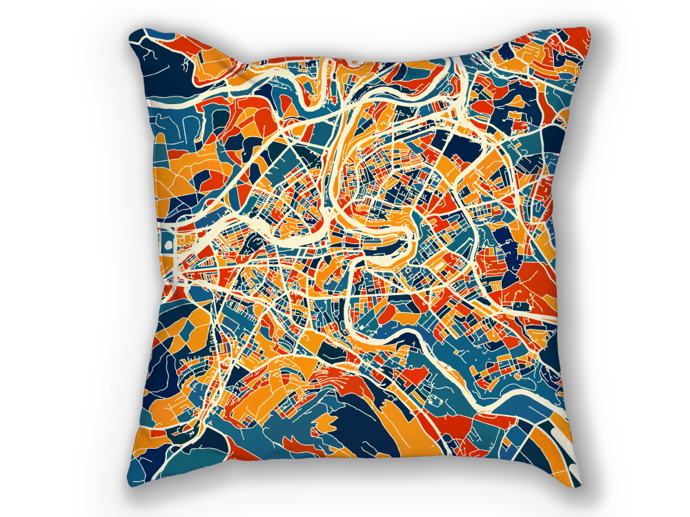 Bern Map Pillow - Switzerland Map Pillow 18x18