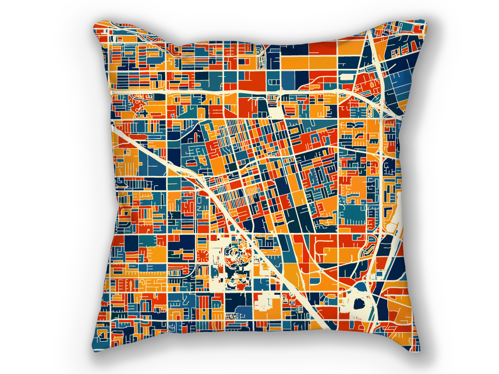 Anaheim Map Pillow - California Map Pillow 18x18