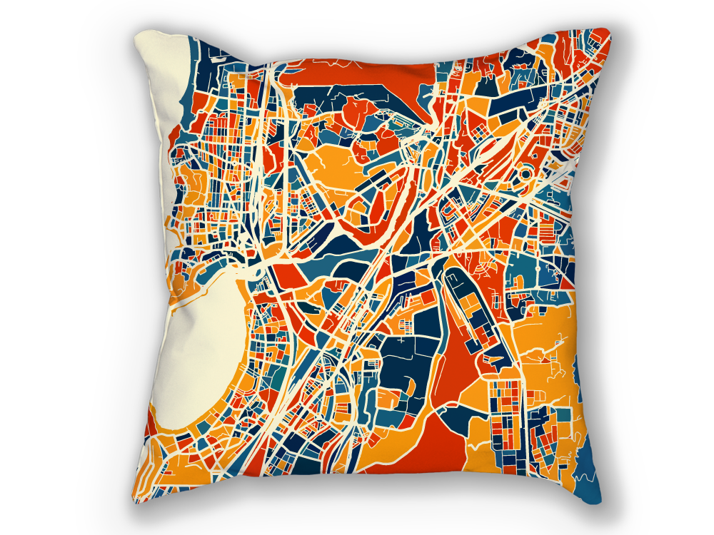 Mumbai Map Pillow - Bombay Map Pillow 18x18