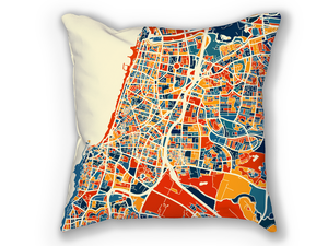 Tel Aviv Map Pillow - Israel Map Pillow 18x18