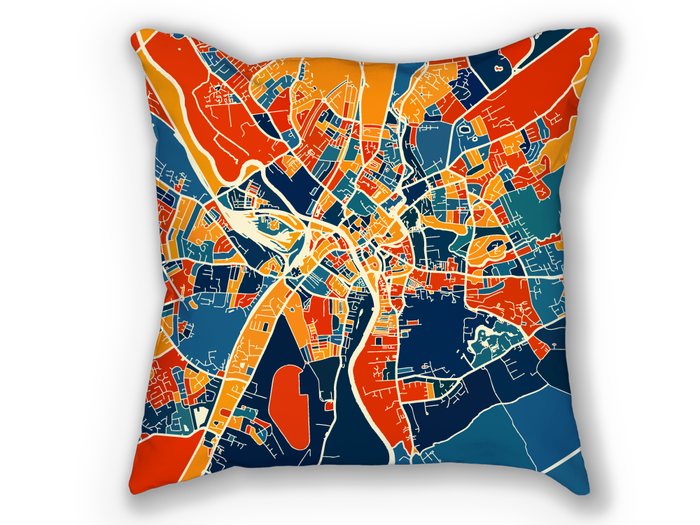 York Map Pillow - Yorkshire Map Pillow 18x18