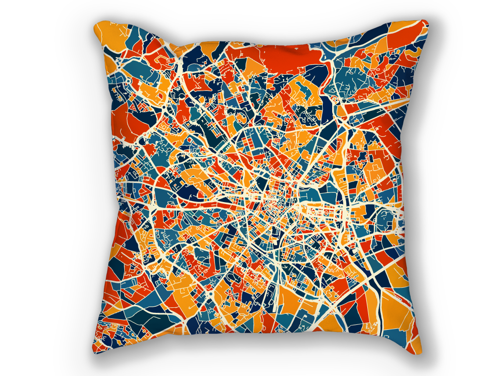 Montpellier Map Pillow - France Map Pillow 18x18