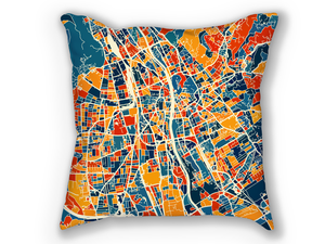Graz Map Pillow - Austria Map Pillow 18x18