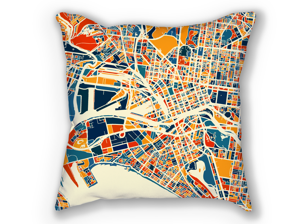 Melbourne Map Pillow - Australia Map Pillow 18x18