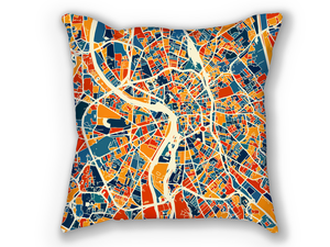 Toulouse Map Pillow - France Map Pillow 18x18