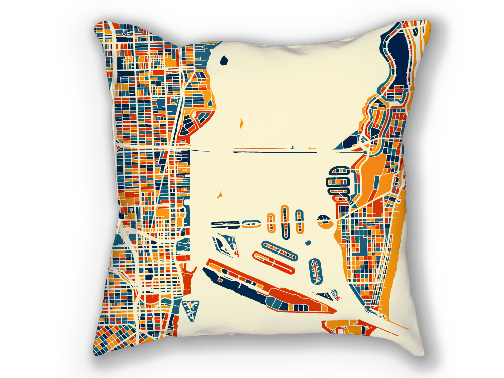 Miami Map Pillow - Florida Map Pillow 18x18