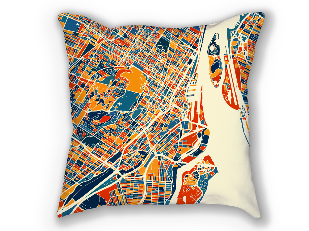 Montreal Map Pillow - Mtl Map Pillow 18x18