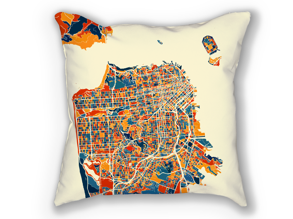 San Francisco Map Pillow - California Map Pillow 18x18