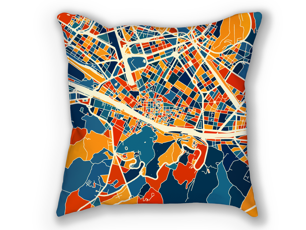 Florence Map Pillow - Italy Map Pillow 18x18