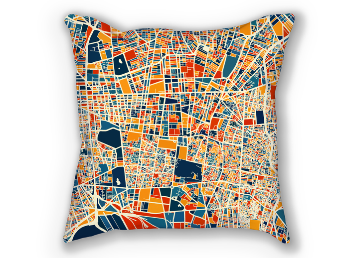 Tehran Map Pillow - Iran Map Pillow 18x18