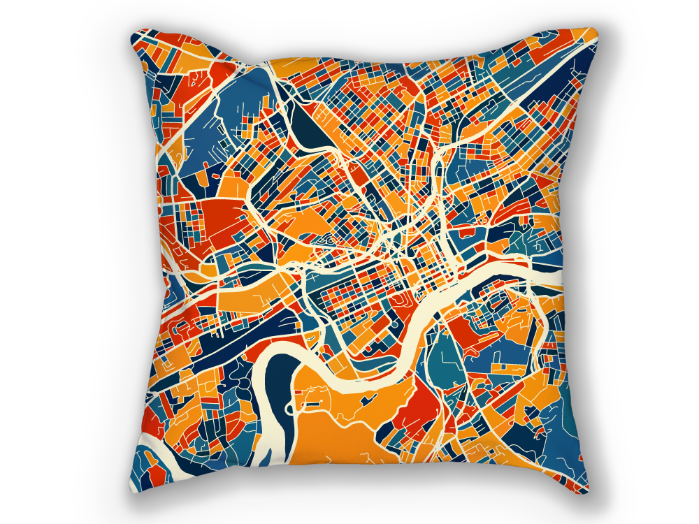 Knoxville Map Pillow - Tennessee Map Pillow 18x18