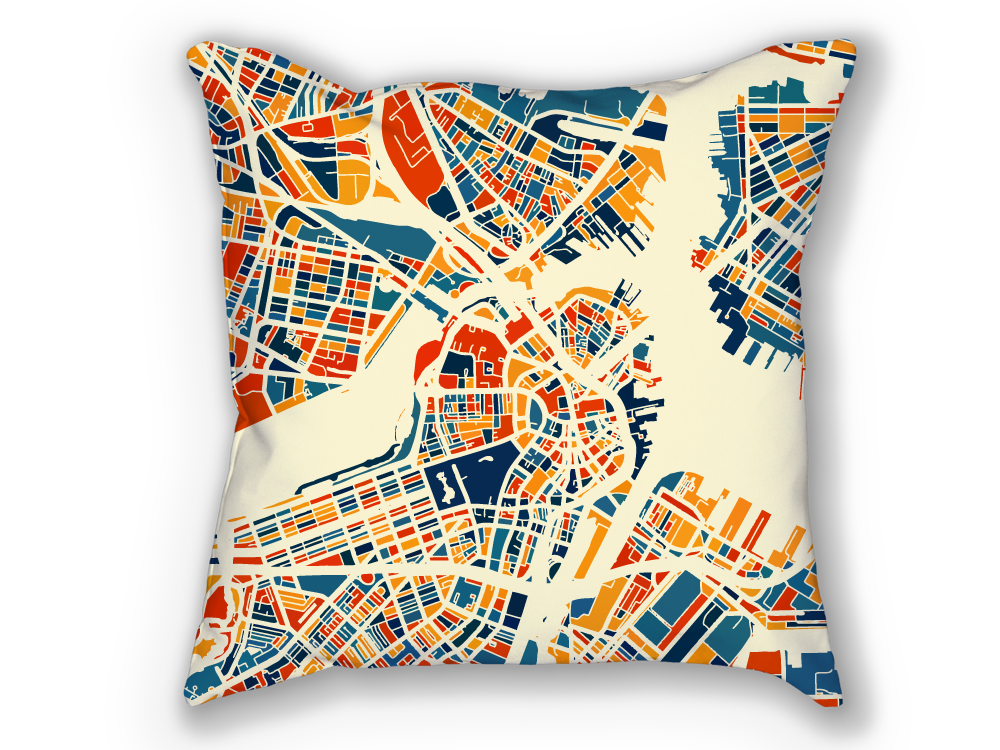 Boston Map Pillow - Massachusetts Map Pillow 18x18