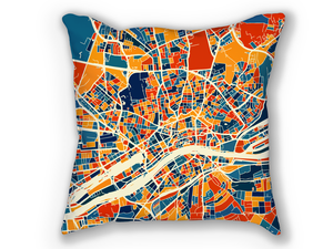 Frankfurt Map Pillow - Germany Map Pillow 18x18