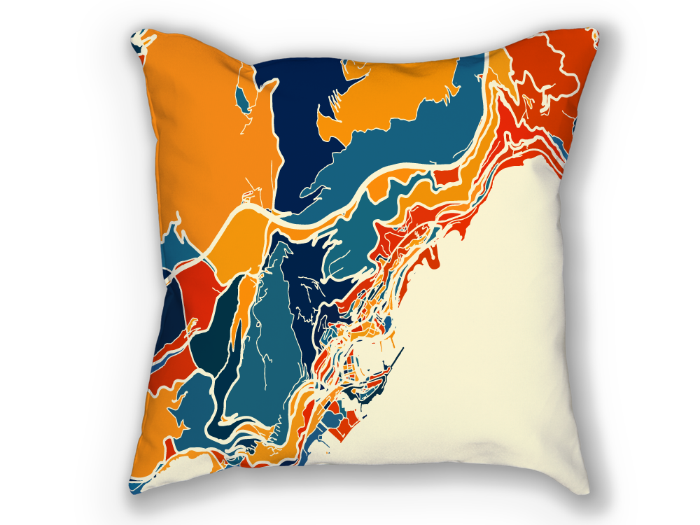 Monaco Map Pillow - Montecarlo Map Pillow 18x18