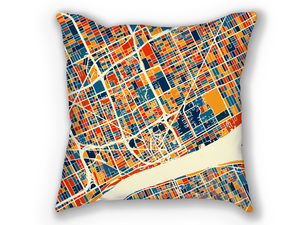 Detroit Map Pillow - Michigan Map Pillow 18x18