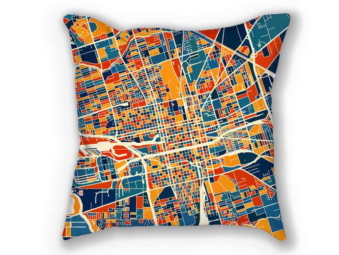 Stockton Map Pillow - California Map Pillow 18x18