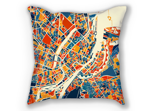 Copenhagen Map Pillow - Kobenhavn Map Pillow 18x18