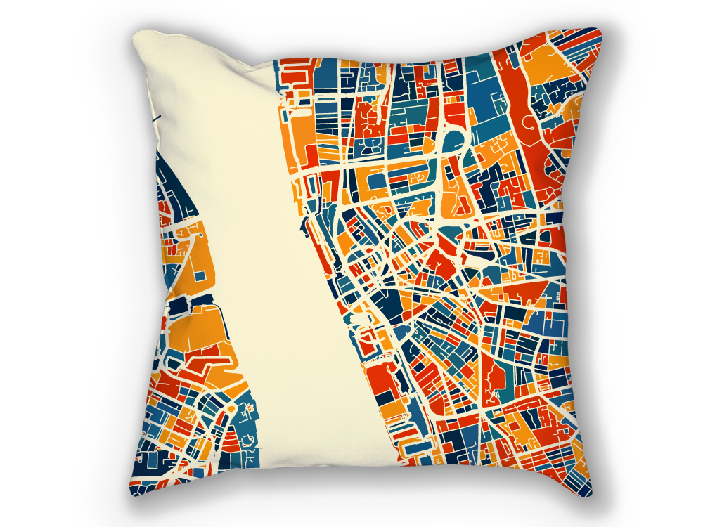 Liverpool Map Pillow - England Map Pillow 18x18