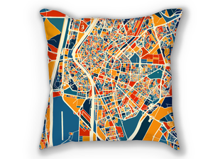 Sevilla Map Pillow - Spain Map Pillow 18x18