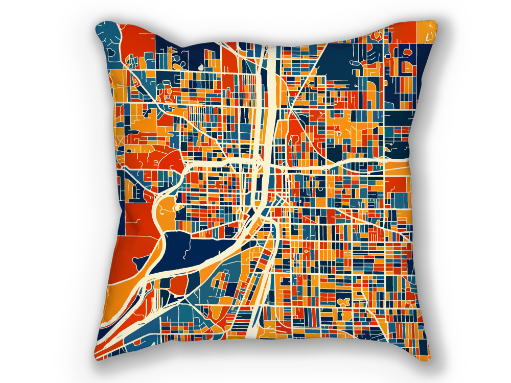 Grand Rapids Map Pillow - Michigan Map Pillow 18x18