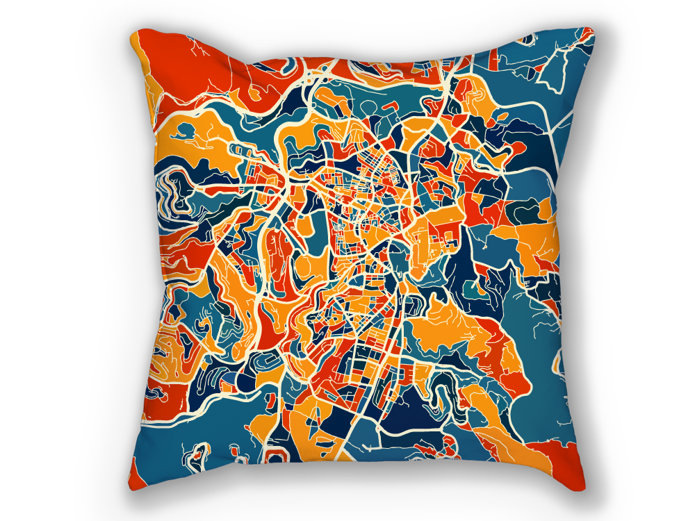 Jerusalem Map Pillow - Israel Map Pillow 18x18