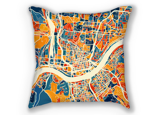 Cincinnati Map Pillow - Ohio Map Pillow 18x18