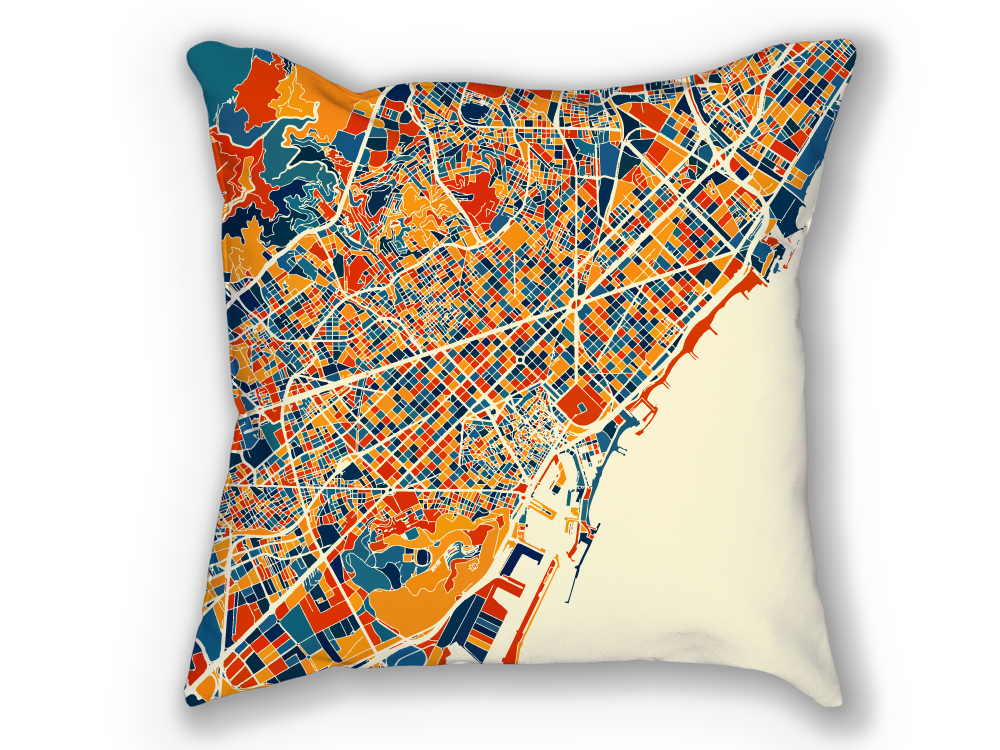 Barcelona Map Pillow - Spain Map Pillow 18x18