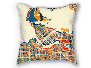 Vancouver Map Pillow - British Columbia Map Pillow 18x18