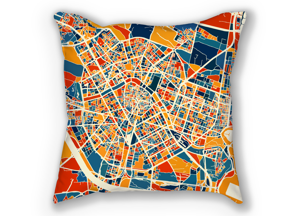 Valencia Map Pillow - Spain Map Pillow 18x18