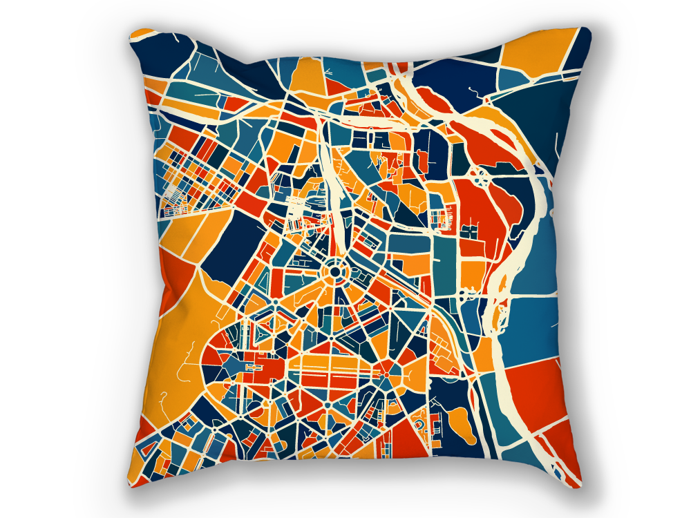 New Delhi Map Pillow - India Map Pillow 18x18