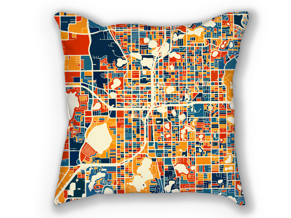 Orlando Map Pillow - Florida Map Pillow 18x18