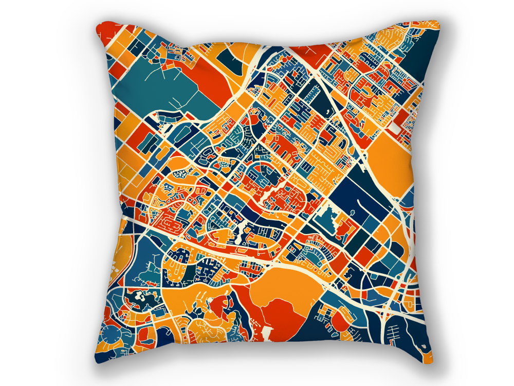 Irvine Map Pillow - California Map Pillow 18x18