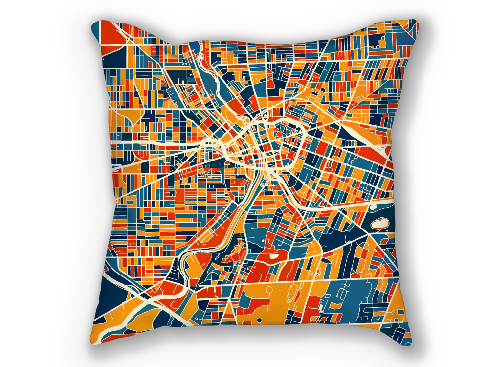 Rochester Map Pillow - New York Map Pillow 18x18