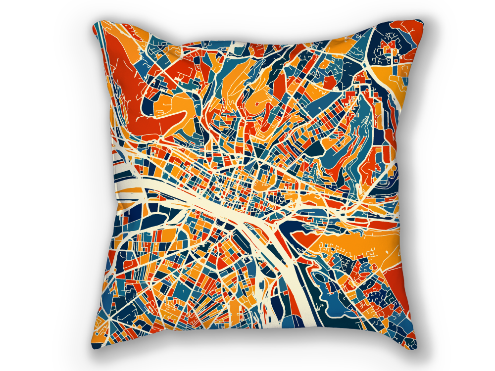 Rouen Map Pillow - Normandy Map Pillow 18x18