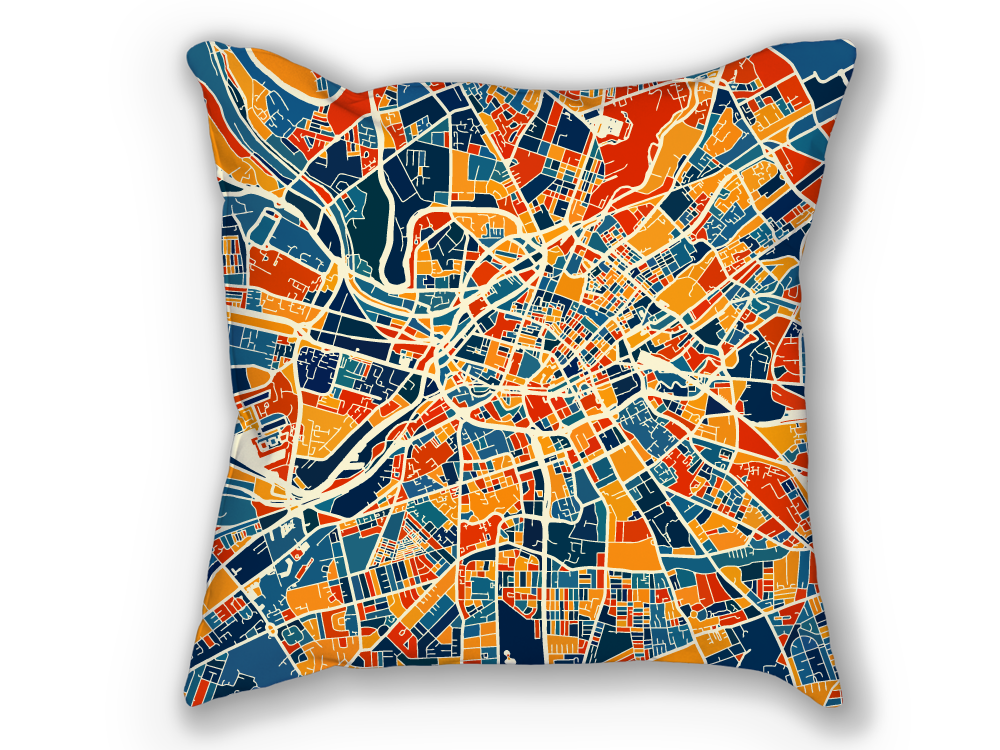 Manchester Map Pillow - England Map Pillow 18x18