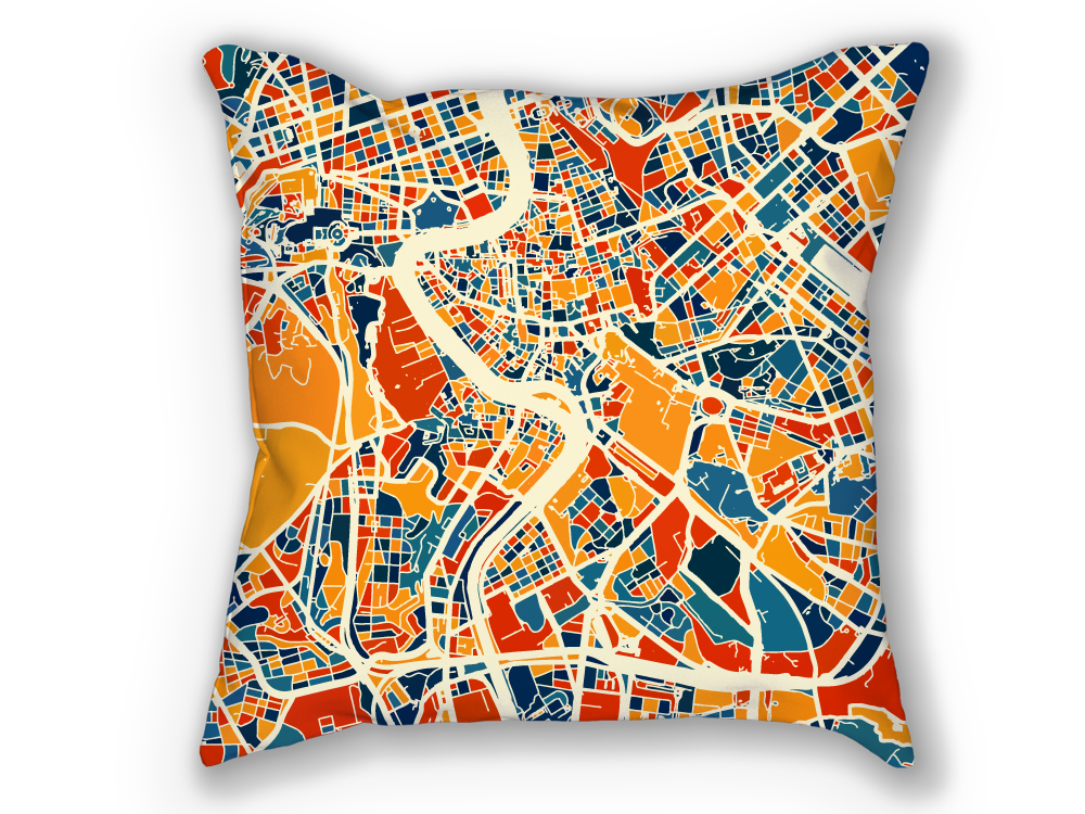Roma Map Pillow - Italy Map Pillow 18x18