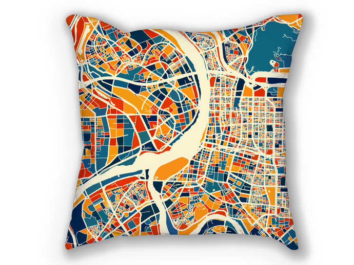 Taipei Map Pillow - Taiwan Map Pillow 18x18