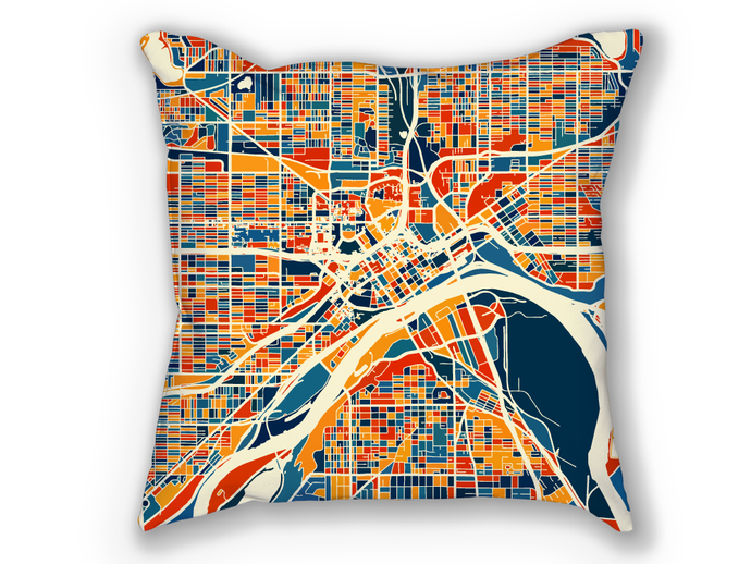 St Paul Map Pillow - Minnesota Map Pillow 18x18