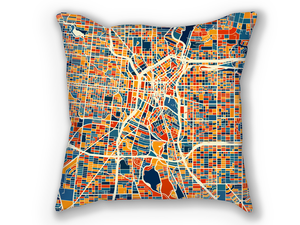 San Antonio Map Pillow - Colorado Map Pillow 18x18