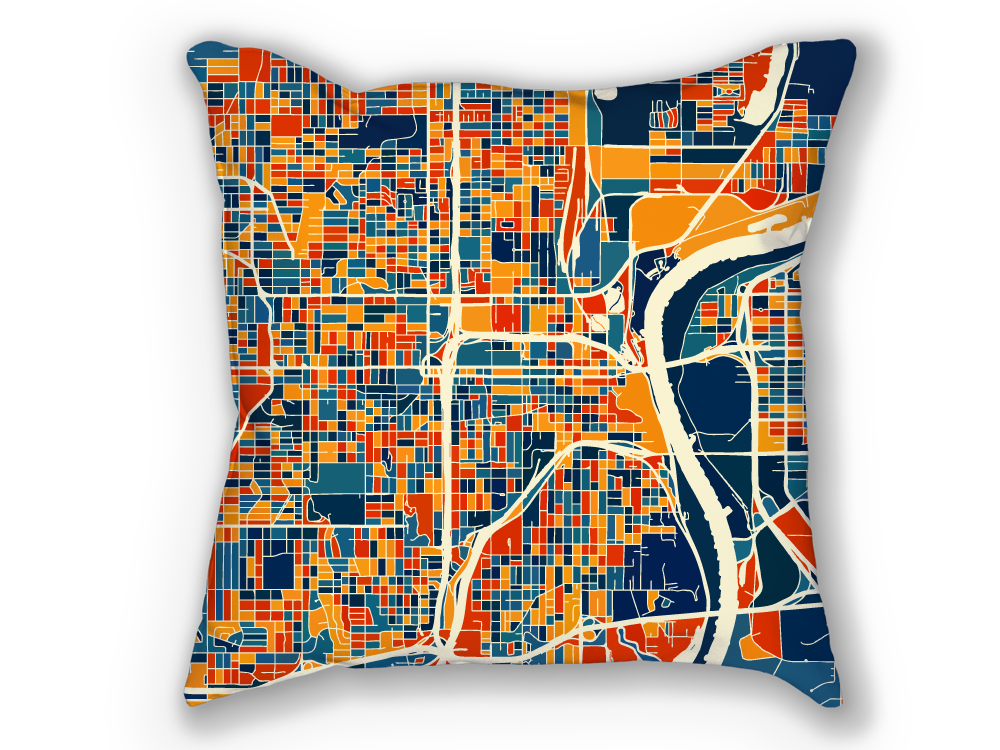 Omaha Map Pillow - Nebraska Map Pillow 18x18